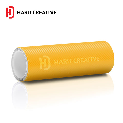 Yellow 3D Carbon Fiber Vinyl Wrap - Adhesive Decal Film Sheet Roll - Haru Creative 3D Carbon Fiber