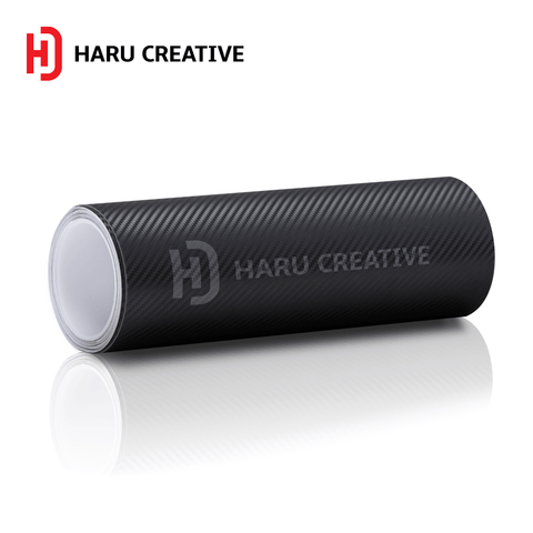 Black 3D Carbon Fiber Vinyl Wrap - Adhesive Decal Film Sheet Roll - Haru Creative 3D Carbon Fiber