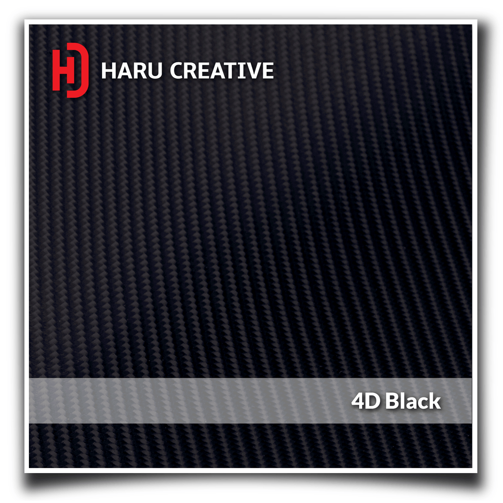 Black 4D Carbon Fiber Vinyl Wrap - Adhesive Decal Sheet Film Roll - Haru Creative 4D Carbon Fiber