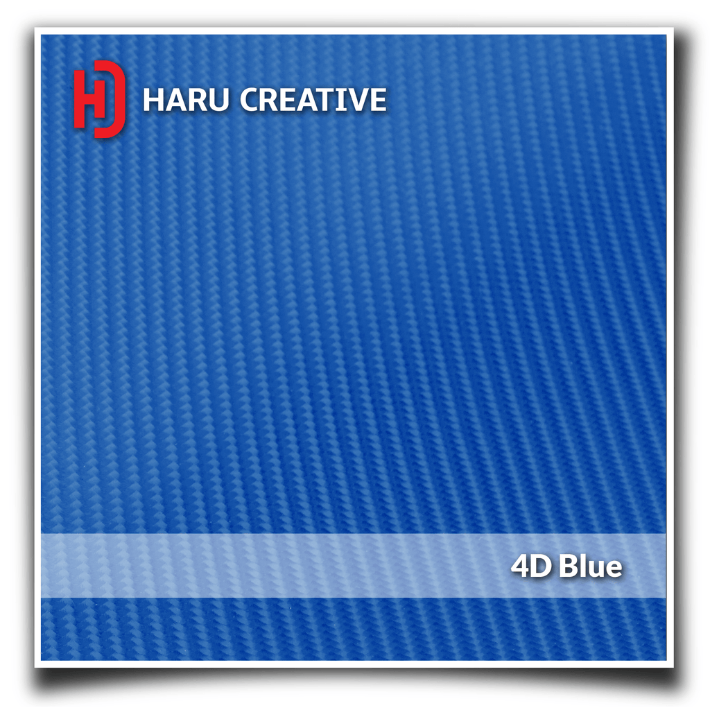 Blue 4D Carbon Fiber Vinyl Wrap - Adhesive Decal Film Sheet Roll - Haru Creative 4D Carbon Fiber