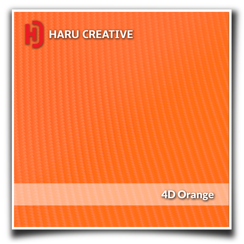 Orange 4D Carbon Fiber Vinyl Wrap - Adhesive Decal Film Sheet Roll - Haru Creative 4D Carbon Fiber