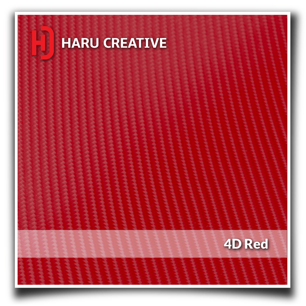 Red 4D Carbon Fiber Vinyl Wrap - Adhesive Decal Film Sheet Roll - Haru Creative 4D Carbon Fiber
