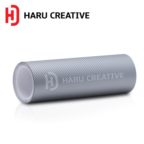 Silver 4D Carbon Fiber Vinyl Wrap - Adhesive Decal Film Sheet Roll - Haru Creative 4D Carbon Fiber