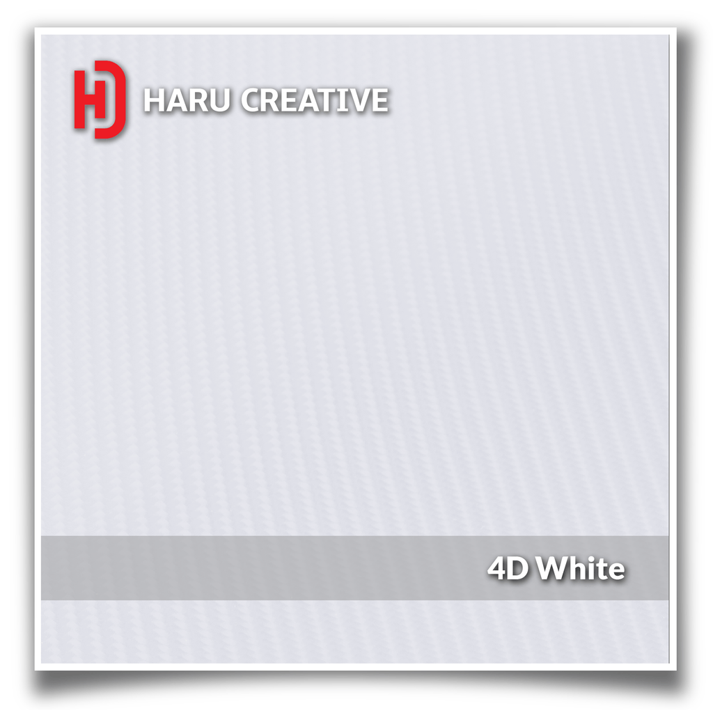 White 4D Carbon Fiber Vinyl Wrap - Adhesive Decal Film Sheet Roll - Haru Creative 4D Carbon Fiber