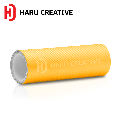 Yellow 4D Carbon Fiber Vinyl Wrap - Adhesive Decal Film Sheet Roll - Haru Creative 4D Carbon Fiber