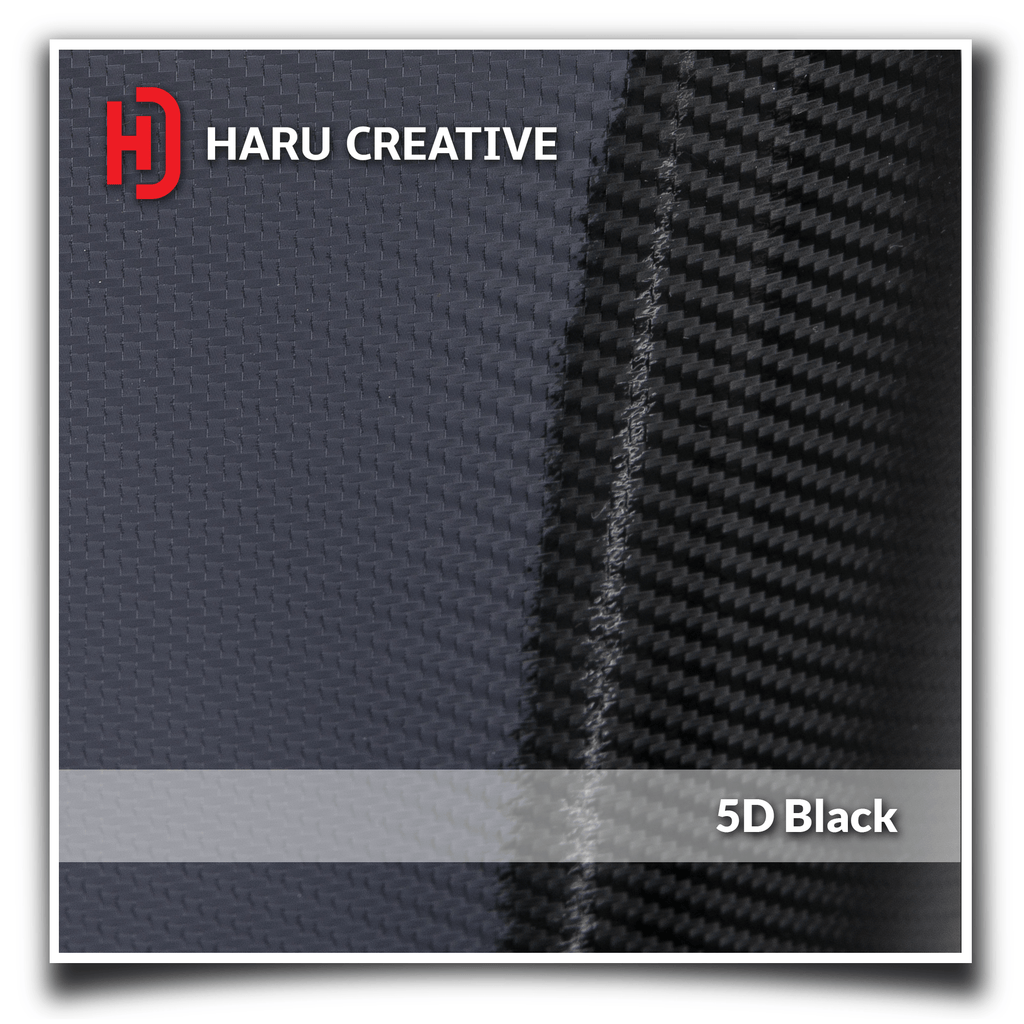 Black 5D Carbon Fiber Vinyl Wrap - Adhesive Decal Film Sheet Roll - Haru Creative 5D Carbon Fiber