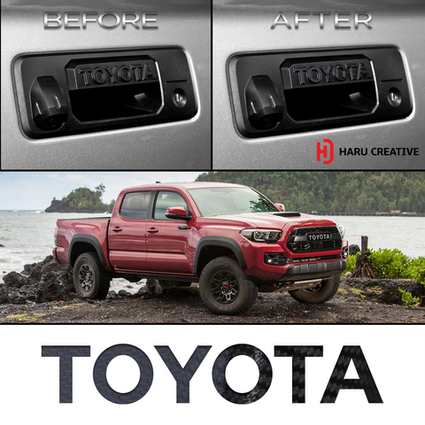 2016-18 Toyota Tacoma Tailgate Handle Letter Overlay Vinyl Decal - Haru Creative Decals
