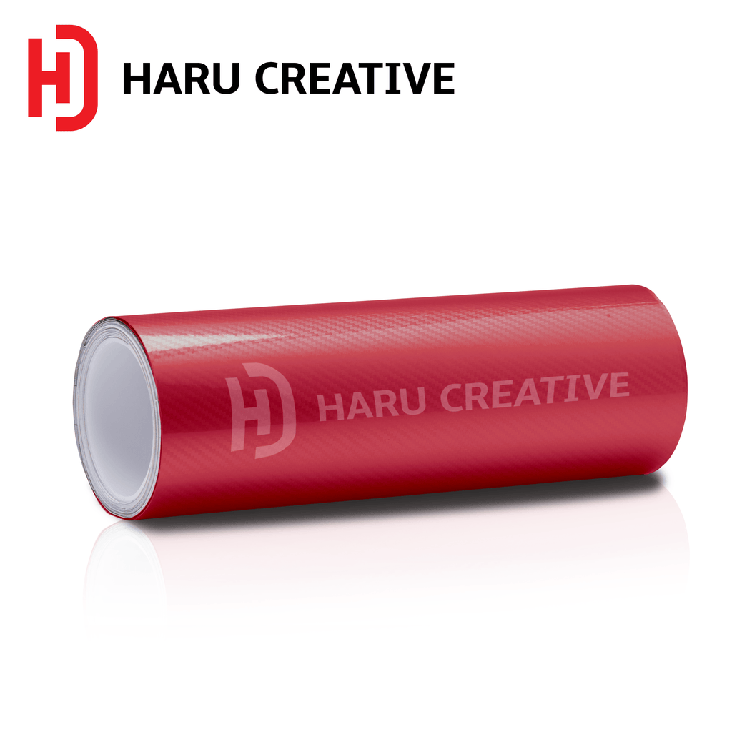 Red 5D Carbon Fiber Vinyl Wrap - Adhesive Decal Film Sheet Roll - Haru Creative 5D Carbon Fiber