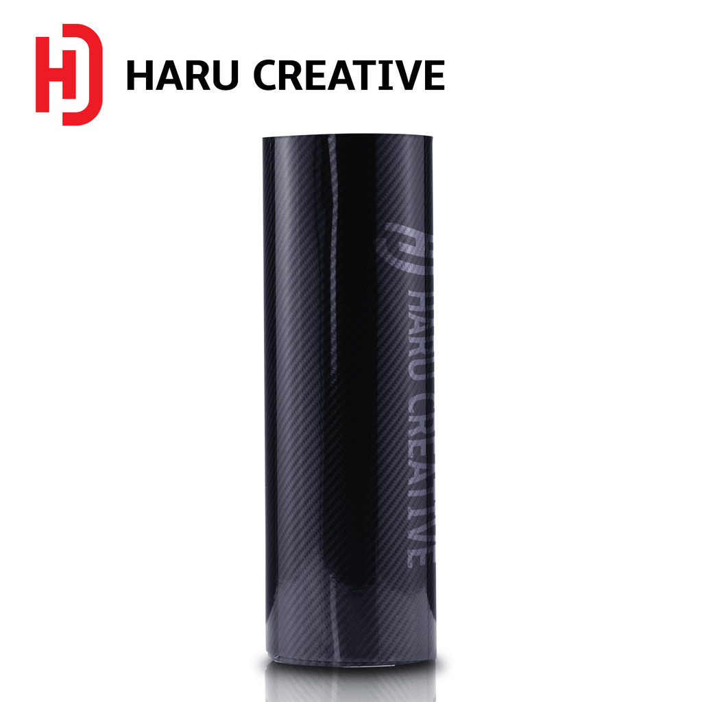 Black 6D Carbon Fiber Vinyl Wrap - Adhesive Decal Film Sheet Roll - Haru Creative 6D Carbon Fiber