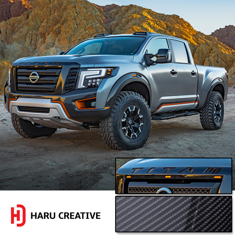 2016-18 Nissan Titan Front Hood Grille Emblem Letter Insert Overlay Vinyl Decal Stickers - Haru Creative Decals