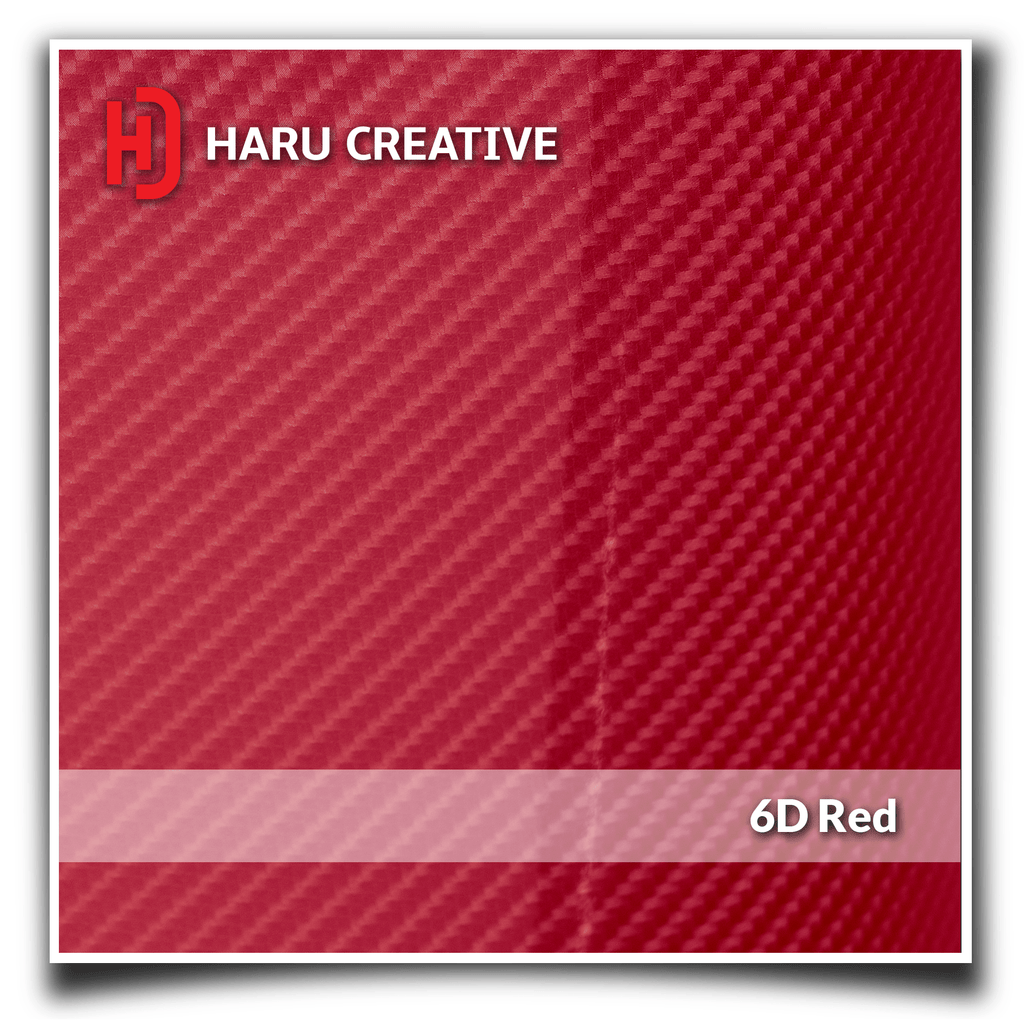 Red 6D Carbon Fiber Vinyl Wrap - Adhesive Decal Film Sheet Roll - Haru Creative 6D Carbon Fiber