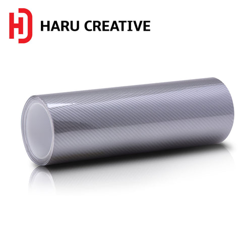 Silver 6D Carbon Fiber Vinyl Wrap - Adhesive Decal Film Sheet Roll - Haru Creative 6D Carbon Fiber