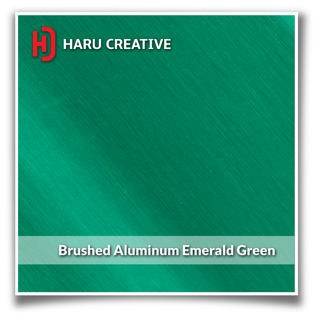 Emerald Green Brushed Aluminum Vinyl Wrap - Adhesive Decal Film Sheet Roll - Haru Creative Brushed Aluminum
