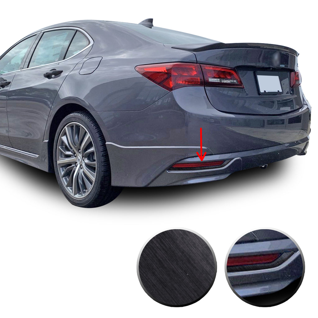Rear Bumper Trim Chrome Delete Vinyl Wrap Overlay Kit Compatible with Acura TLX 2015 - 2017
