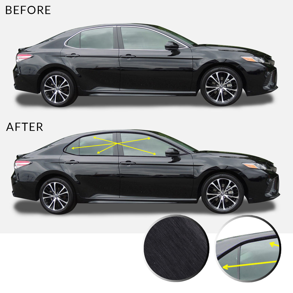 Window Trim Chrome Delete Overlay Vinyl Decal Sticker Kit Compatible with and Fits Toyota Camry 2018 2019