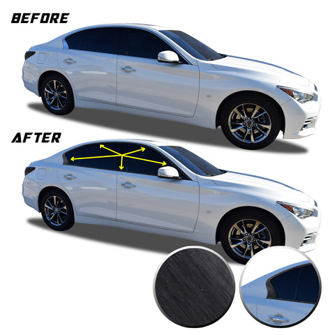 Window Trim Chrome Delete Blackout Vinyl Kit Compatible with and Fits Infiniti Q50 2016-2020 - Black