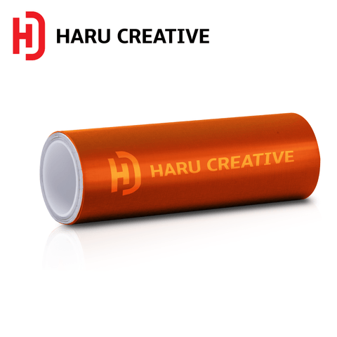 Orange Brushed Aluminum Vinyl Wrap - Adhesive Decal Film Sheet Roll - Haru Creative Brushed Aluminum