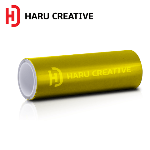 Yellow Brushed Aluminum Vinyl Wrap - Adhesive Decal Film Sheet Roll - Haru Creative Brushed Aluminum