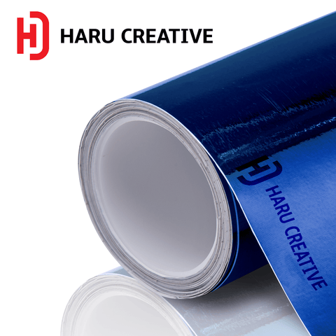 Blue Chrome Vinyl Wrap - Adhesive Decal Film Sheet Roll - Haru Creative Chrome