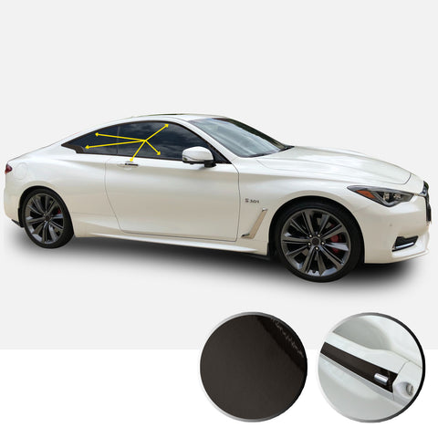 Window Trim Chrome Delete Vinyl Kit Compatible with and Fits Infiniti Q60 Coupe 2017-2019 - Black