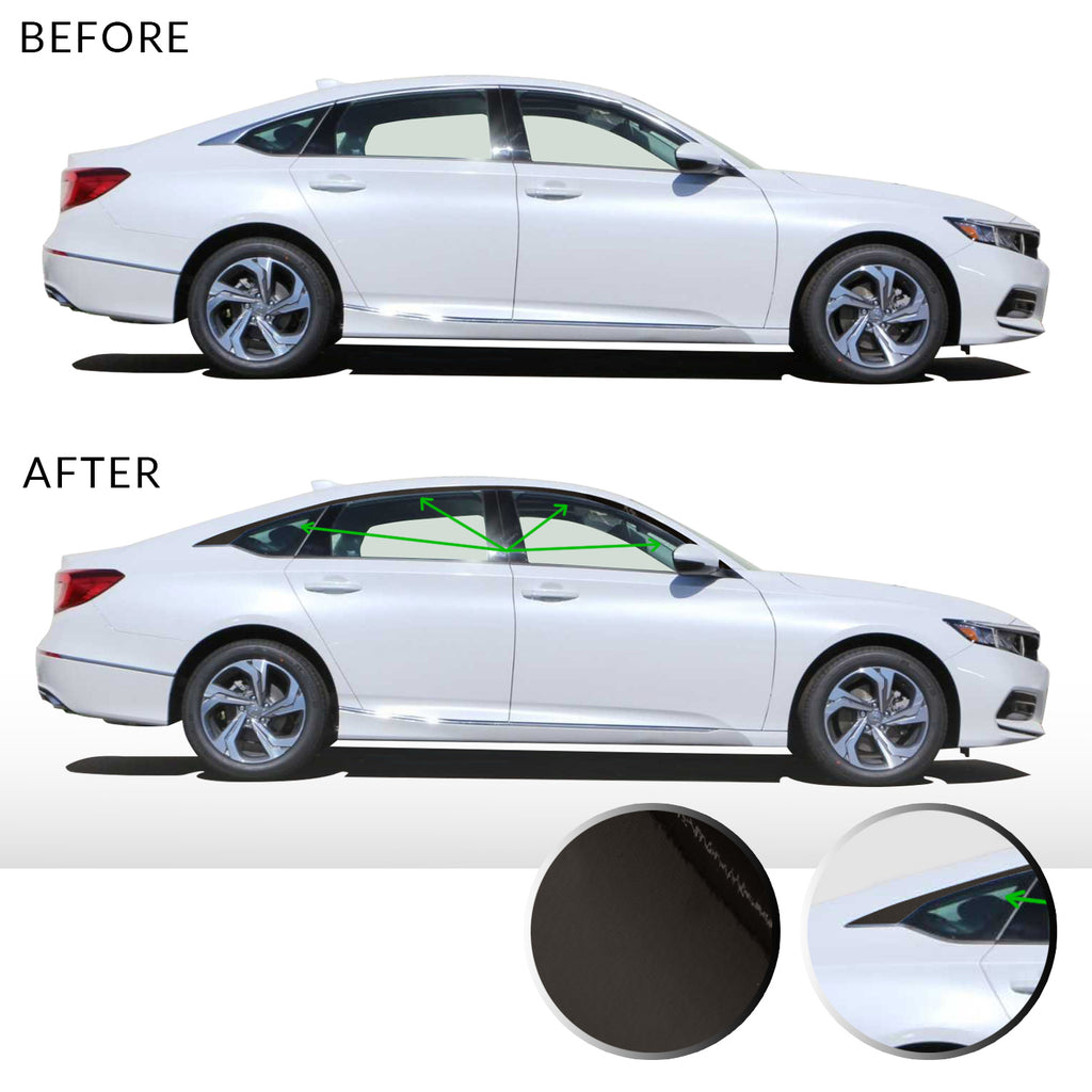 Window Trim Chrome Delete Vinyl Kit Compatible with and Fits Accord Sedan 2018-2019 - Black