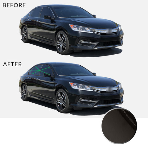 Window Trim Chrome Delete Overlay Vinyl Decal Sticker Kit Compatible with and Fits Honda Accord Sedan 2013 2014 2015 2016 2017 - Black