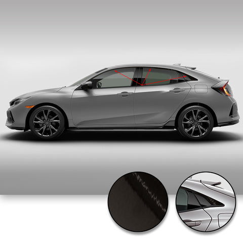 Window Trim Chrome Delete Vinyl Kit Compatible with and Fits Civic Hatchback 2017-2019 - Black