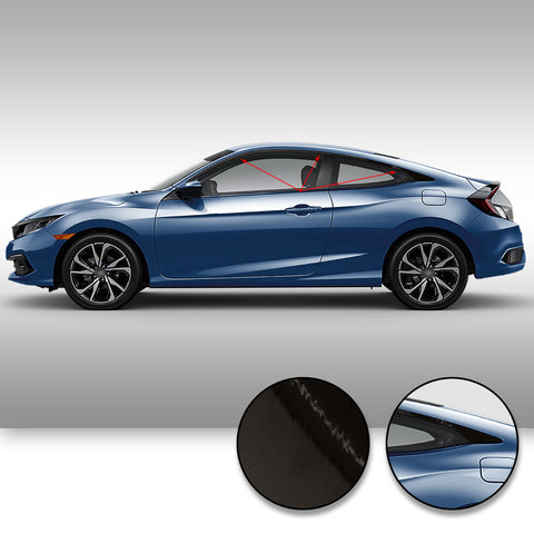 Window Trim Chrome Delete Vinyl Kit Compatible with and Fits Civic Coupe 2016-2019 - Black