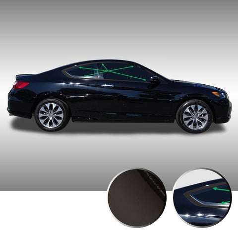 Window Trim Chrome Delete Vinyl Wrap Kit Compatible with and Fits Accord Coupe 2013-2017 - Black