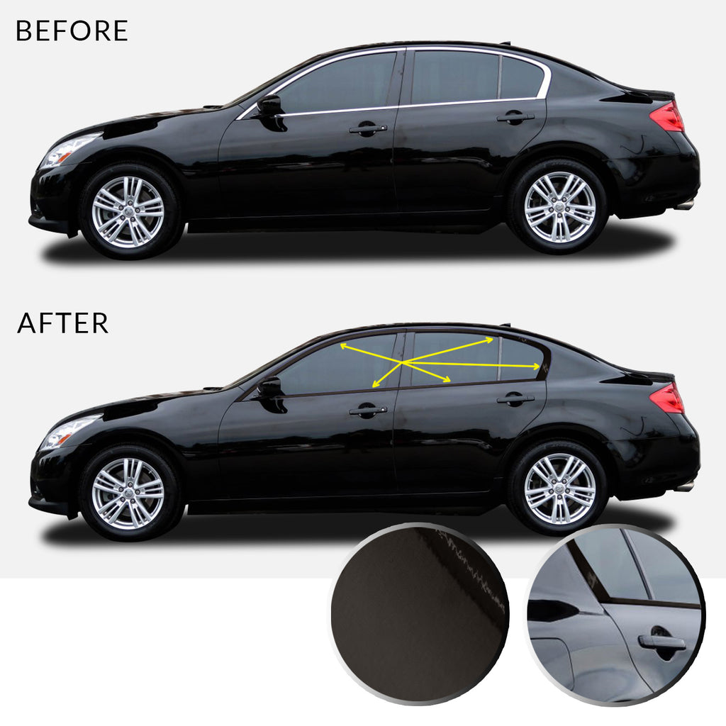 Window Trim Chrome Delete Overlay Vinyl Decal Sticker Kit Compatible with and Fits Infiniti G35 G37 Q40 (Sedan) 2007-2015 - Black
