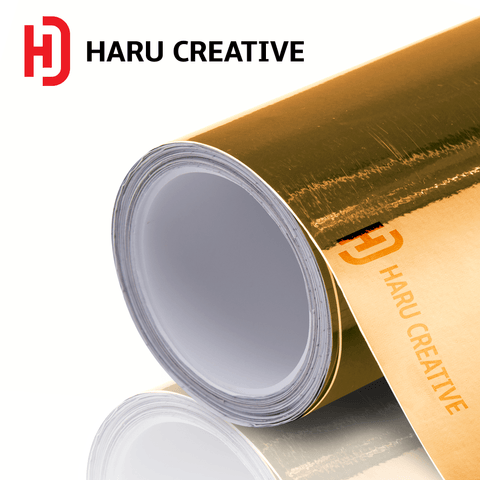 Gold Chrome Vinyl Wrap - Adhesive Decal Film Sheet Roll - Haru Creative Chrome