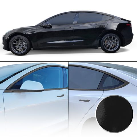 Window Door Handle & Mirror Trim Chrome Delete Blackout Precut Vinyl Wrap Overlay Kit Compatible with Tesla Model 3 2017-2020