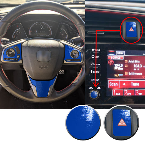 Interior Steering Wheel Hazard Button and Radio Vinyl Decal Trim Overlay Compatible with Honda Civic 2016-2020