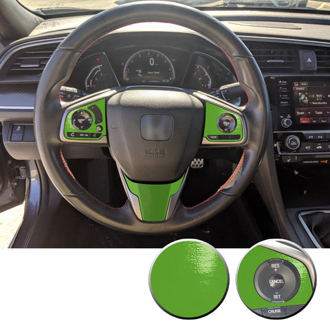 Steering Wheel Control Panel & Bottom Trim Vinyl Decal Overlay Accent Compatible with Honda Civic 2016-2020