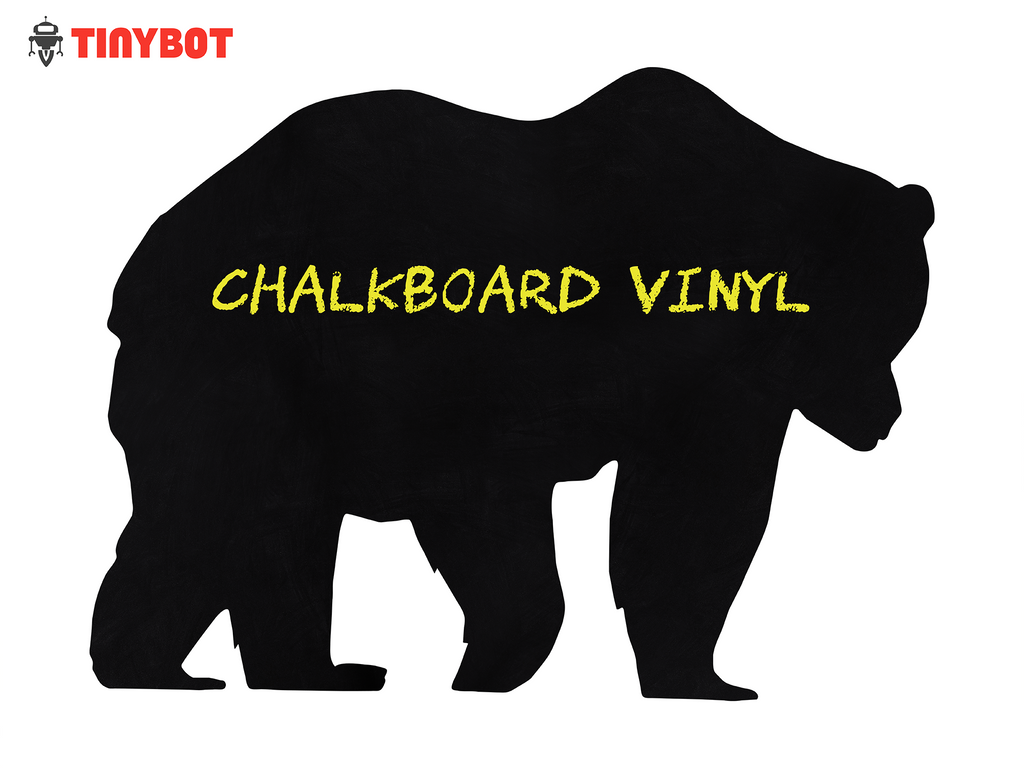 "Tinybot - Big Bear Removable Chalkboard Adhesive Wall Vinyl Decal Sticker - Color Black - 10""x15"" Inches - Haru Creative Decals"