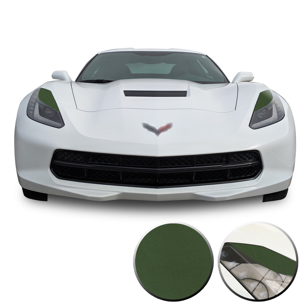 Headlight Eyelids Vinyl Decal Overlay Wrap Compatible with Corvette C7 2014-2019