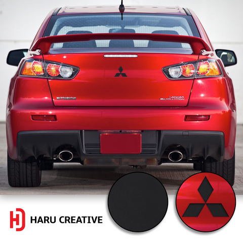 2008-14 Mitsubishi Lancer Front Hood Grille Rear Trunk Tailgate Overlay Vinyl Decal Sticker - Haru Creative Decals