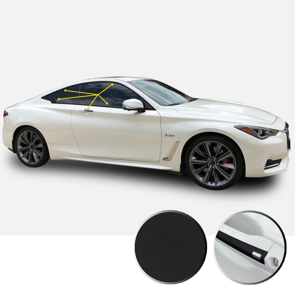 Window Trim Chrome Delete Overlay Vinyl Decal Sticker Kit Compatible with and Fits Infiniti Q60 2017 2018 2019 - Black