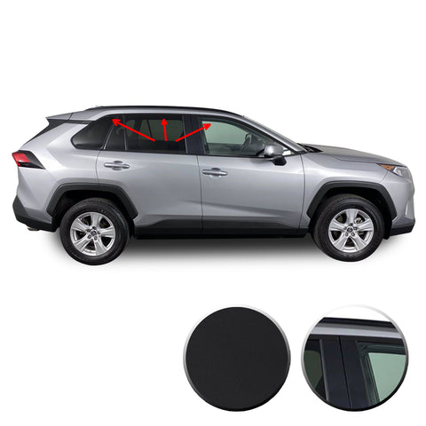 Window Trim Chrome Delete Blackout Vinyl Overlay Kit Compatible with & Fits Toyota RAV4 2019 2020