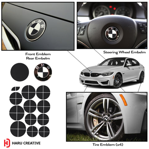 BMW Emblem Caps for Hood Trunk Wheel Fender (Fits All Years) - Haru Creative Decals