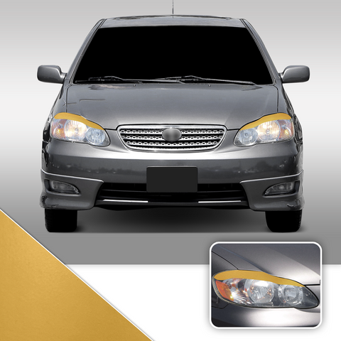 Headlight Eyelid Eyebrow Overlay Accent Pre Cut Vinyl Decal Wrap Compatible with Toyota Corolla 2003-2008