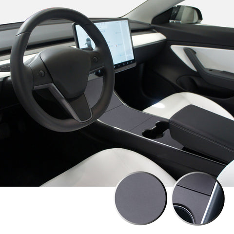 Center Console Vinyl Wrap Decal Cover Protector Kit Compatible with and Fits Tesla Model 3