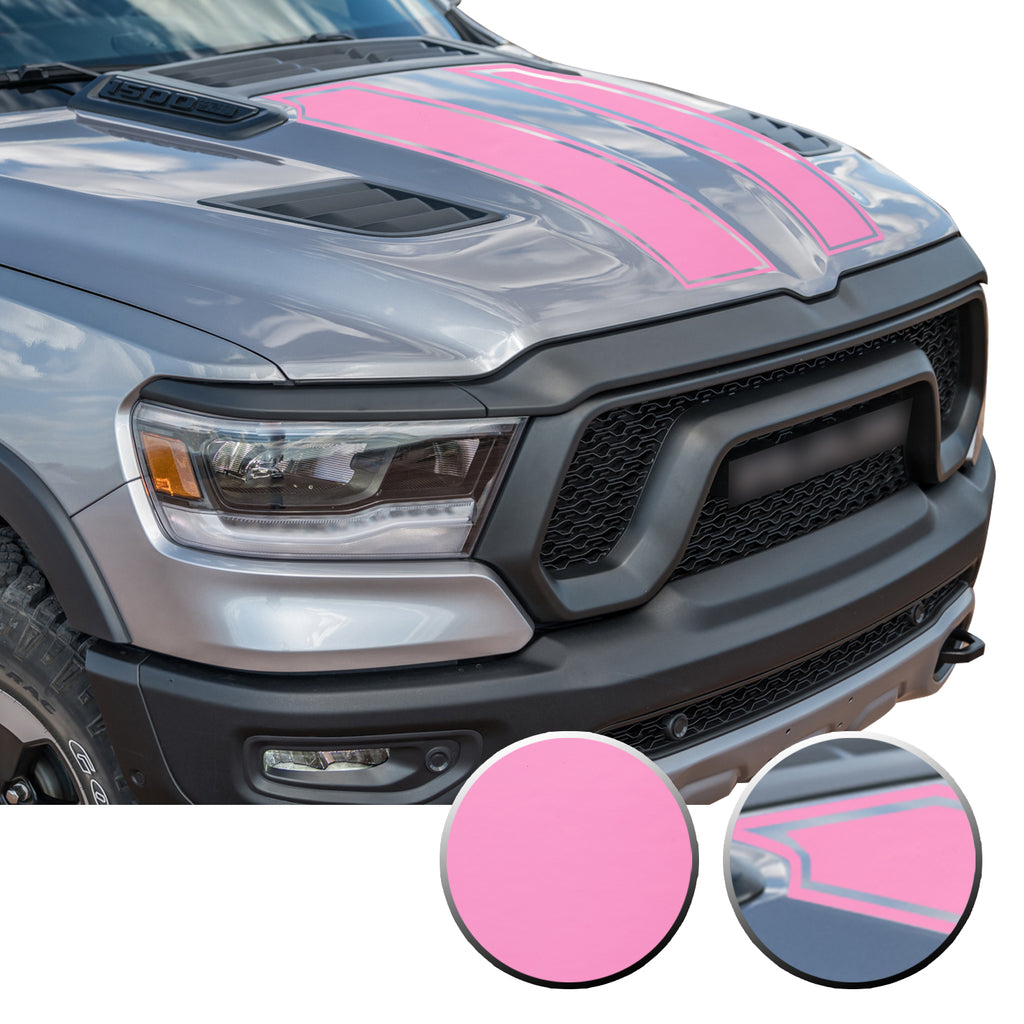 Outlined Hood Scoop Decal Accent Overlay Precut Trim Compatible with and Fits Ram 1500 Rebel Crew Cab Quad Cab 2020