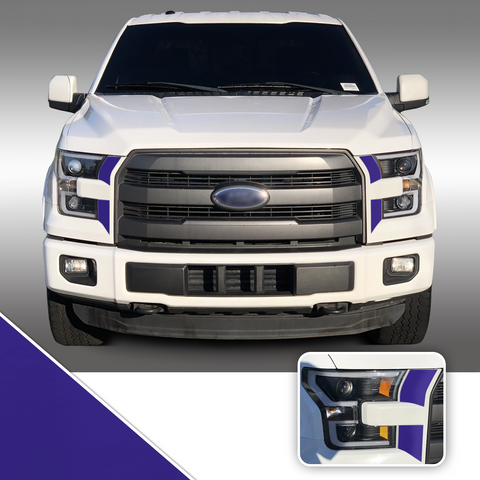 Headlight Front Accents Vinyl Decal Overlay Wrap Trim Compatible with and Fits F-150 2015-2017