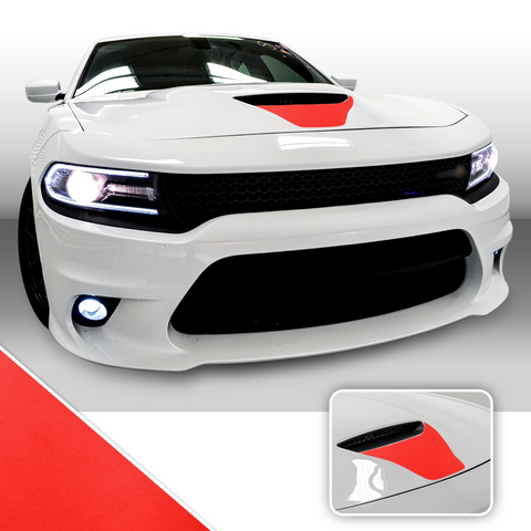 Front Hood Scoop Vinyl Wrap Decal Kit Compatible with and fits Charger Scat Pack 2015-2020