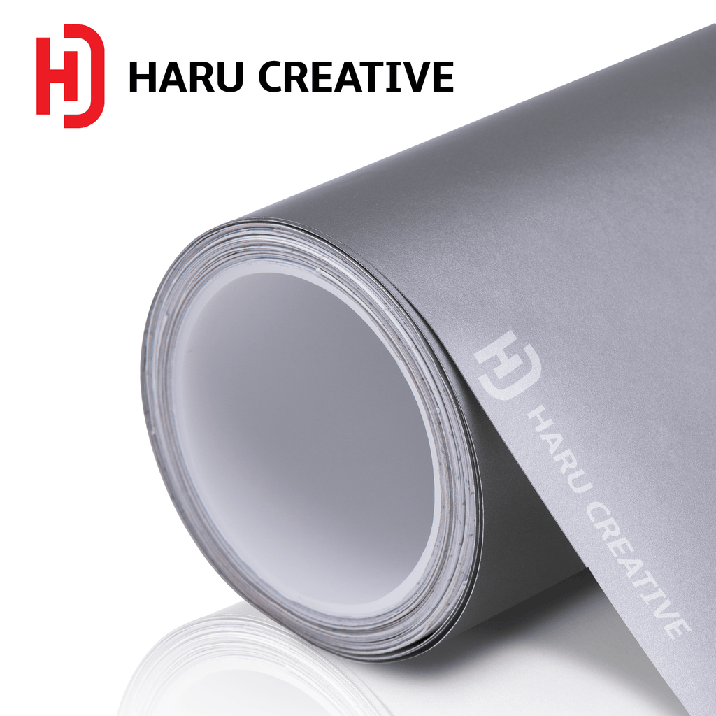 Silver Matte Vinyl Wrap - Adhesive Decal Film Sheet Roll - Haru Creative Matte