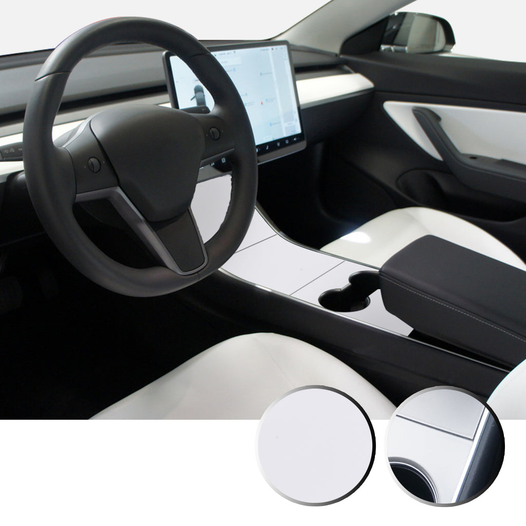 Center Console Vinyl Decal Overlay Trim Wrap Compatible with and Fits Model 3 2017-2020