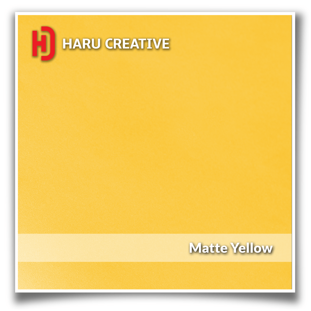 Yellow Matte Vinyl Wrap - Adhesive Decal Film Sheet Roll - Haru Creative Matte