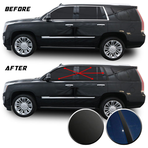 Window Trim Chrome Delete Blackout Vinyl Overlay Wrap Kit Compatible with Cadillac Escalade 2015-2020