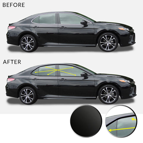Window Trim Chrome Delete Overlay Vinyl Decal Kit Compatible with and Fits Toyota Camry 2018-2019